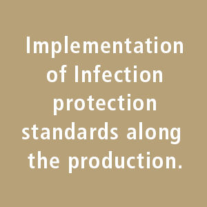 Implementation of Infection protection standarts along the production.