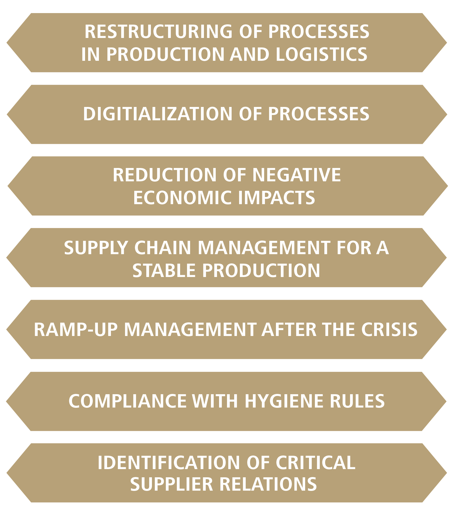 restructuring of processes in production and logistics, digitialization of processes, reduction of negative economic impacts, suppy chain management  for a stable production, ramp-up management after the crisis, compiance with hygiene rules